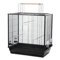 The Waldorf Bird Cage with Opening Top and Perches - Black
