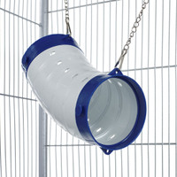 Beige Curved Ferret Play Tube With Chains - Blue End