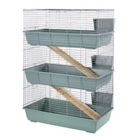 Rabbit 100 Triple Cage Indoor for Rabbits & Guinea Pigs Beige