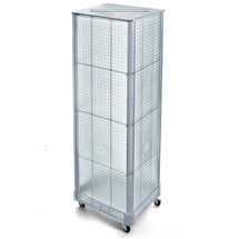 "Four-Sided Pegboard Tower Floor Display on Wheeled Base. Panel Size: 16""W x 60""H"