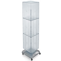 "Four-Sided Pegboard Tower Floor Display on Revolving Wheeled Base. Panel Size: 14""W x 60""H"