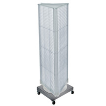 "Three-Sided Revolving Pegboard Tower Floor Display on Wheeled Metal Base. Panel Size: 16""W x 60""H"