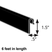 """0.5"""" x 1.5"""" Black Gridwall Extrusion. 6-Foot Length"""