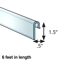 """0.5"""" x 1.5"""" Clear Gridwall Extrusion. 6-Foot Length"""