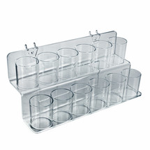 2 Tier Cup Display for Pegboard, Slatwall, or Counter