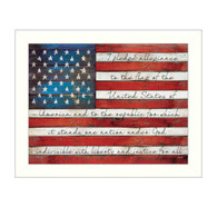 """MA1126-712 WHT """"Pledge of Allegiance"""" is a 26""""x20"""" print framed in a 712 White frame.  This artwork by artist Marla Rae features a rustic design of an American flag with the text of the pledge of allegiance scripted on it. The print has an archival, protective, textured finish so no glass is needed, and is ready to hang. Made in the USA by skilled American workers."""
