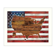 """MA2075-712 WHT """"American Flag USA Map"""" is a  26""""x20""""print framed in a 712 White frame.  This artwork by artist Marla Rae features a rustic design of an American flag with a wood grain map of the United States on it. The print has an archival, protective, textured finish so no glass is needed, and is ready to hang. Made in the USA by skilled American workers."""