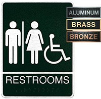 Metal Unisex Accessible Restroom Plaque