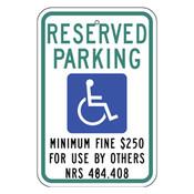 Nevada Handicap Reserved Parking Sign