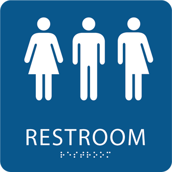 Gender neutral ada restroom sign ada central signs for Unisex handicap bathroom sign