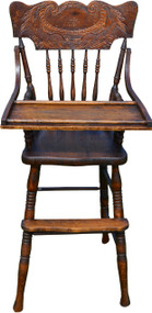 SOLD Oak Press Back Children's High Chair