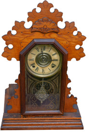 2953 Ingraham Oak Shelf Gingerbread Mantle Clock