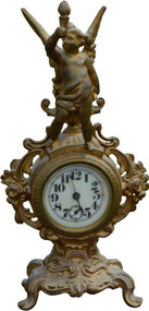 2954 Victorian Gold Figural Mantle Clock with Cherub