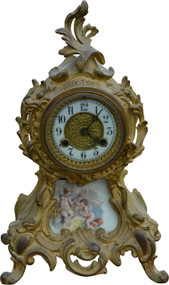 2955 Victorian Gold Cast Metal Mantle Clock