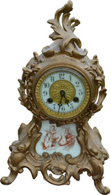 2957 Victorian Cast Metal Mantle Clock