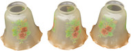 17085 Set of 3 Hand Painted Electric Lamp Shades Antique