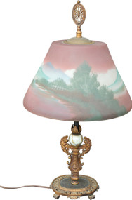 2928 Reverse Painted Early 1900s Table Lamp