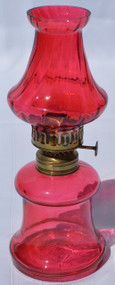 2919 Miniature Cranberry Victorian Two Part Mini Lamp from the 1890s