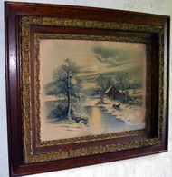 17061 Victorian Oak Carved Picture Frame w/ Winter Moonlight Scene