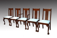 SOLD  Set of Five Formal Mahogany Inlaid Dining Chairs