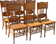 17151 Set of 6 Fancy Oak Dining Chairs