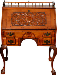 SOLD Custom Handmade Maple Chippendale Ball and Claw Carved Desk