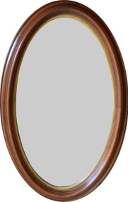 17121 Victorian Oval Deep Dish Walnut Wall Mirror