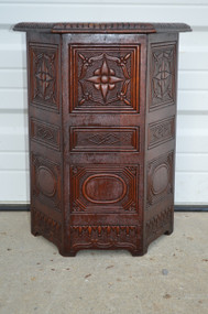 SOLD Unusual Six Sided Carved Mahogany Plant Stand