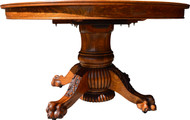 "SOLD Round Oak 54"" Heavily Carved Banquet Table by Hastings – 4 Leaves"