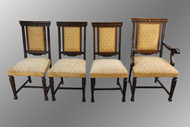 16007 Antique Set of Four Oak Carved Dining Chairs