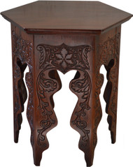 SOLD Heavily Carved Six Sided Mahogany Plant Stand