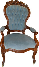 17197 Civil War Era Heavily Carved Gentleman's Chair
