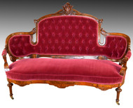 17190 Victorian Carved Beautiful Burl Walnut Tufted Loveseat