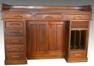 SOLD Rare Oak Raised Panel Railroad Master's Desk