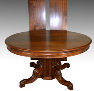 SOLD Victorian Round Walnut Banquet Dining Table