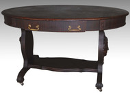 17099 Mahogany Oval Writing Desk with Angel Faces
