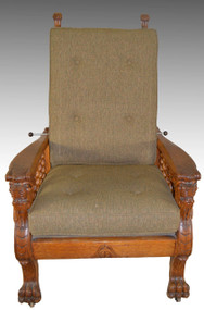 17183 Horner Style Full Winged Griffin Oak Morris Chair