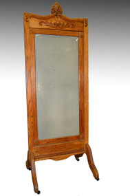 17207 Oak Antique Cheval Ladies Dressing Mirror