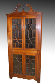 SOLD Mahogany Inlaid Corner China Cabinet