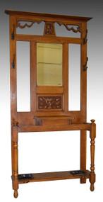 17219 Oak Art Nouveau Bevel Glass Hall Tree