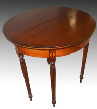 17224 Mahogany Inlaid Demi Lune Game Table