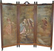 17220 Victorian Triple Section Folding Bird's Eye Maple Dressing Screen / Room Divider