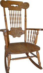 17210  Oak Pressback Rocking Chair by Larkin