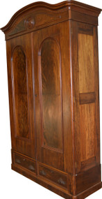 17257 Victorian Mahogany and Flame Mahogany Armoire Wardrobe – Civil War Era