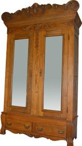 17258 Oak Carved Bevel Glass Mirror American Wardrobe