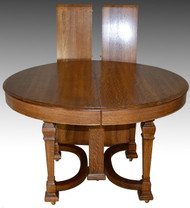 17248 Round Oak Dining Table w/2 Leaves