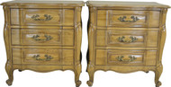 17292 Pair of French Provincial Three Drawer Night Stands by Rapids
