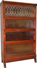 17038 Mahogany Sectional Leaded Door Bookcase with Drawer