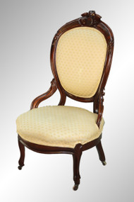 SOLD Antique Victorian Walnut Gentleman's Chair with Burl and Carving