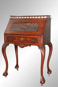 SOLD Antique Mahogany Carved Chippendale Lady's Desk - Bench Made